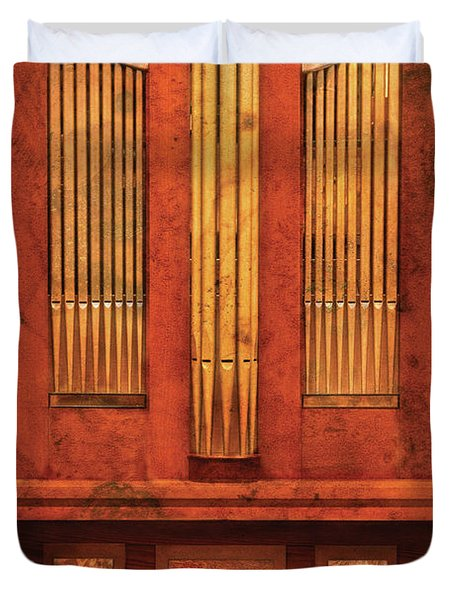 Music - Organist - Skippack  Ville Organ - 1835 Duvet Cover by Mike Savad