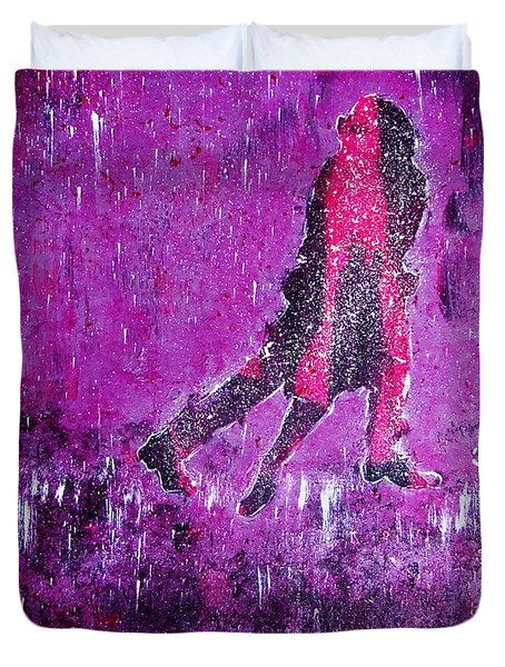 Music Inspired Dancing Tango Couple In Purple Rain Contemporary Lyrical Splattered And Emotional Duvet Cover by M Zimmerman