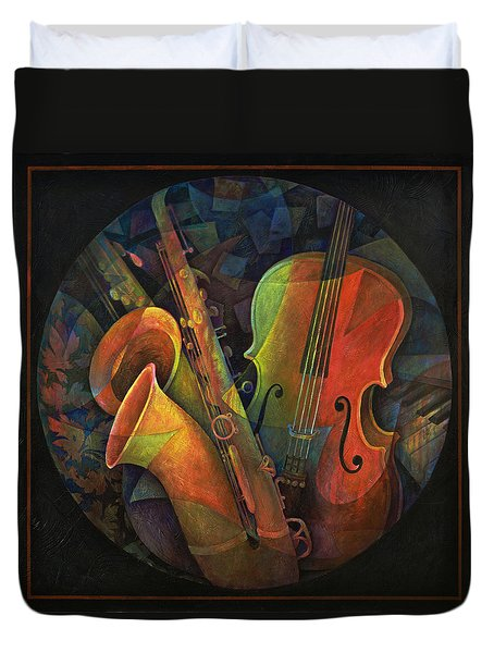 Musical Mandala - Features Cello And Sax's Duvet Cover by Susanne Clark