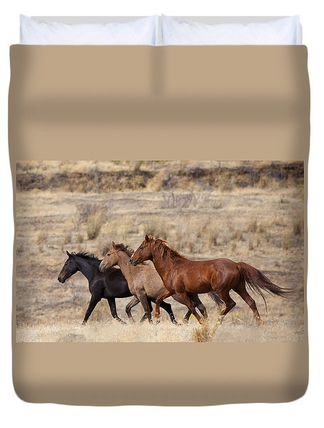 Mustang Trio Duvet Cover by Mike  Dawson