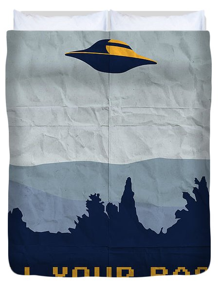 My All Your Base Are Belong To Us Meets X-files I Want To Believe Poster  Duvet Cover by Chungkong Art