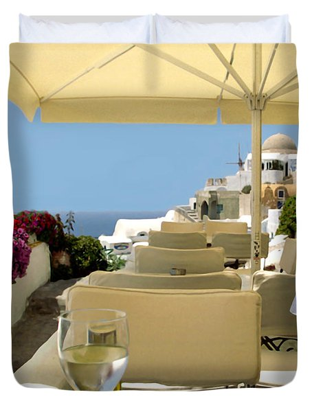 Mykonos Restaurant Duvet Cover by Madeline Ellis