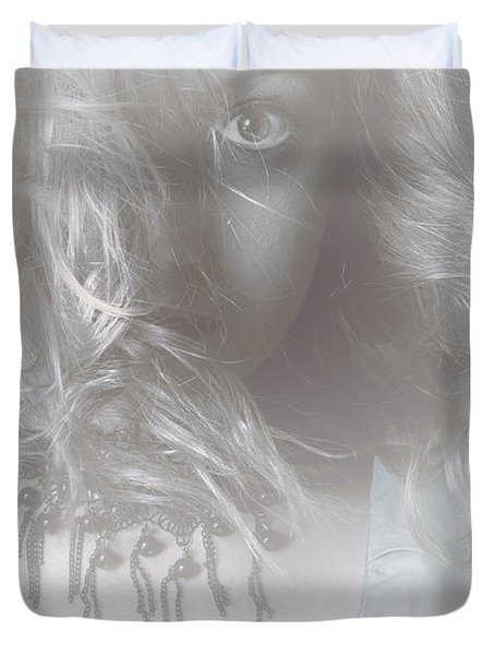 Mysterious Fine Art Fantasy Woman In Forest Mist Duvet Cover by Ryan Jorgensen