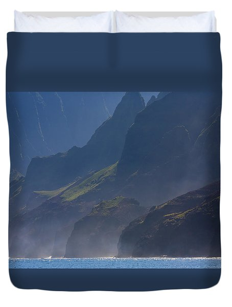 Na Pali Morning Mist Duvet Cover by Mike  Dawson