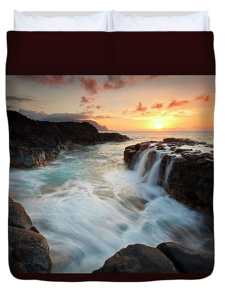 Na Pali Sunset Duvet Cover by Mike  Dawson