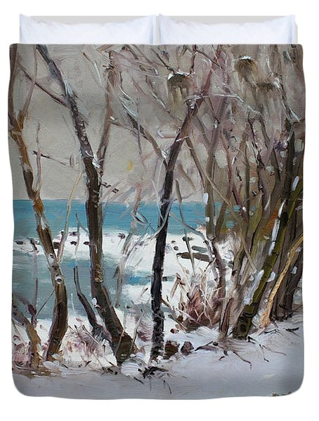 Naked Trees by the Lake Shore Duvet Cover by Ylli Haruni