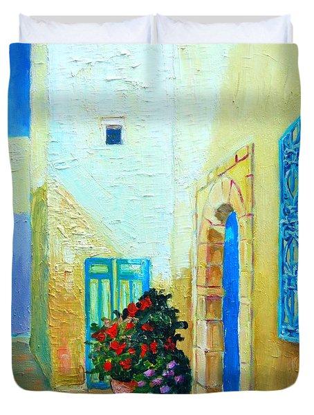 Narrow Street In Hammamet Duvet Cover by Ana Maria Edulescu