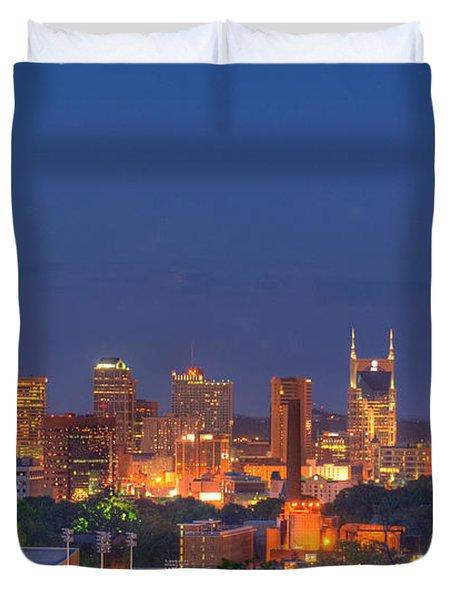 Nashville By Night Duvet Cover by Douglas Barnett