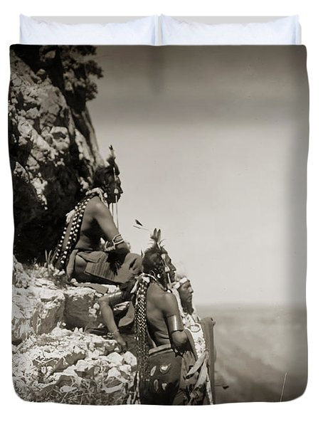 Native American Crow Men On Rock Ledge Duvet Cover by The  Vault - Jennifer Rondinelli Reilly
