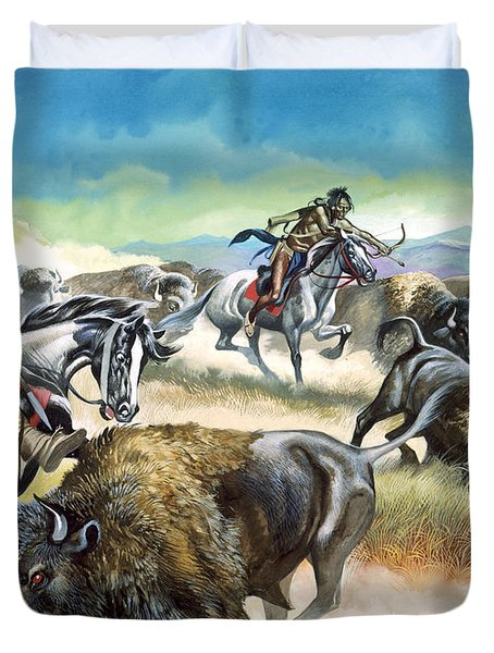 Native American Indians Killing American Bison Duvet Cover by Ron Embleton