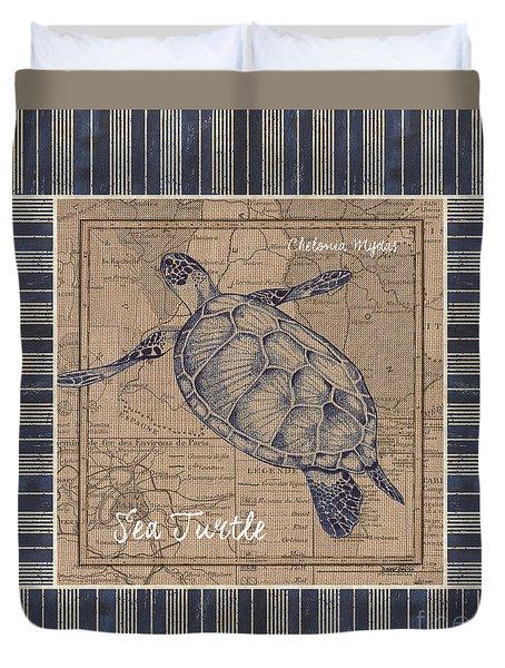 Nautical Stripes Sea Turtle Duvet Cover by Debbie DeWitt
