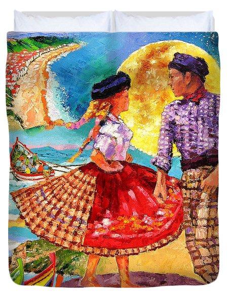 Nazare Portugal Duvet Cover by John Lautermilch