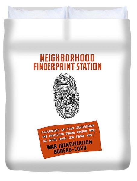 Neighborhood Fingerprint Station Duvet Cover by War Is Hell Store