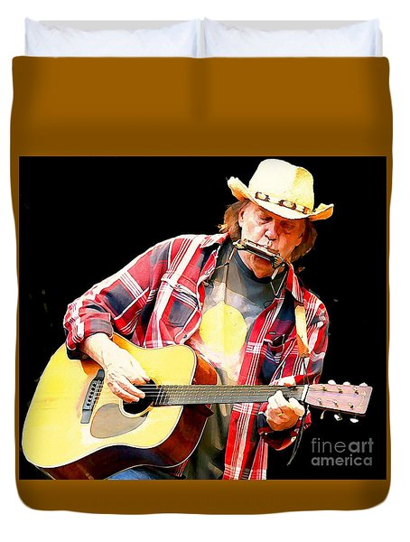Neil Young Duvet Cover by John Malone