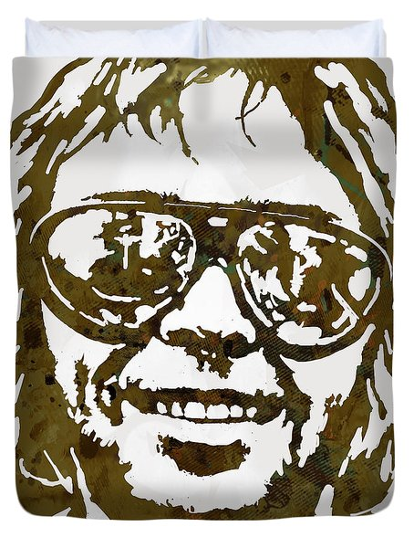 Neil Young Pop  Stylised Art Sketch Poster Duvet Cover by Kim Wang