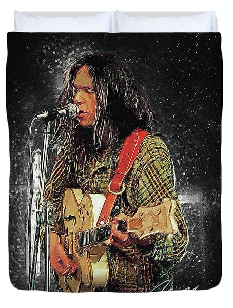 Neil Young Duvet Cover by Taylan Apukovska