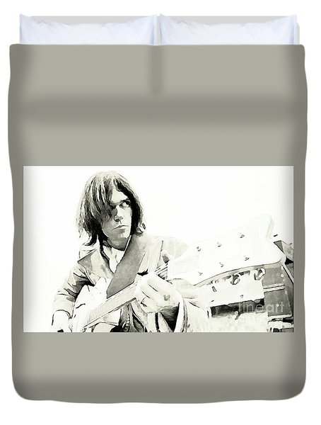 Neil Young Watercolor Duvet Cover by John Malone