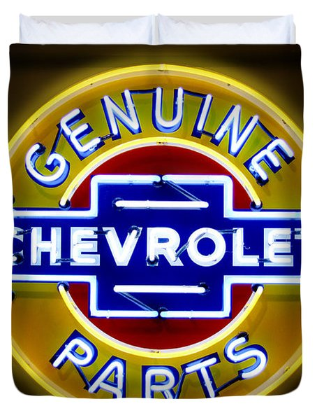 Neon Genuine Chevrolet Parts Sign Duvet Cover by Mike McGlothlen