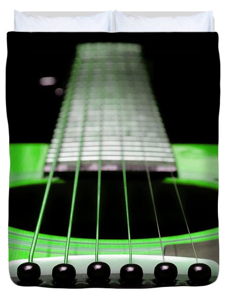 Neon Green Guitar 18 Duvet Cover by Andee Design