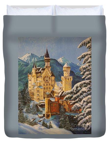 Neuschwanstein Castle In Winter Duvet Cover by Charlotte Blanchard