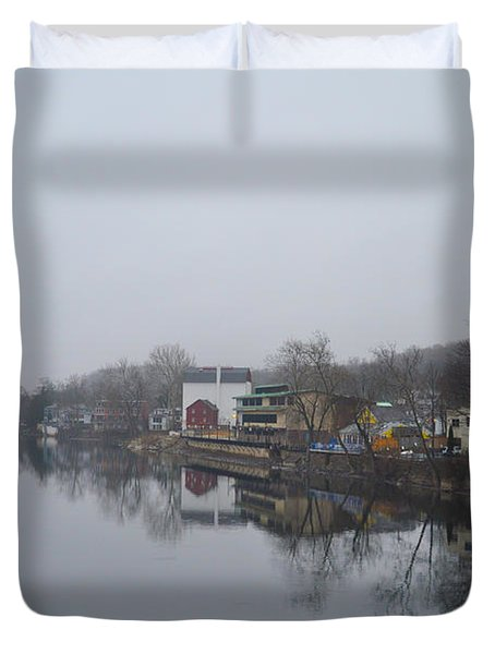 New Hope River View on a Misty Day Duvet Cover by Bill Cannon