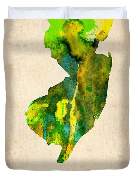 New Jersey Watercolor Map Duvet Cover by Naxart Studio