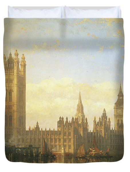 New Palace Of Westminster From The River Thames Duvet Cover by David Roberts