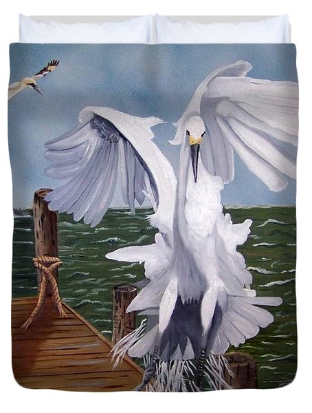 New Point Egret Duvet Cover by Debbie LaFrance