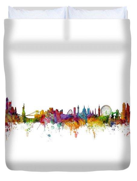 New York And London Skyline Mashup Duvet Cover by Michael Tompsett