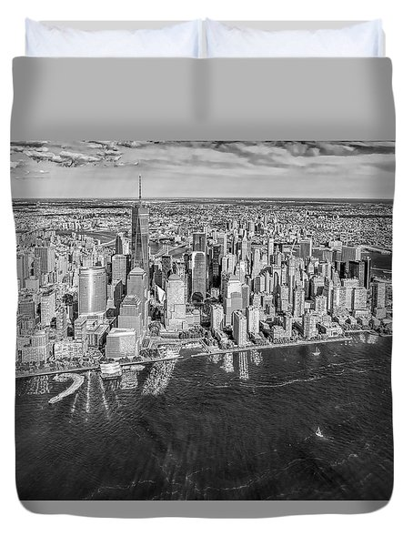 New York City Aerial View Bw Duvet Cover by Susan Candelario