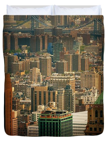 New York City Buildings And Skyline Duvet Cover by Vivienne Gucwa