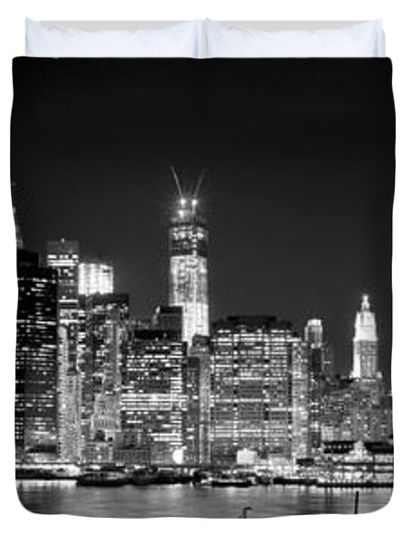 New York City Bw Tribute In Lights And Lower Manhattan At Night Black And White Nyc Duvet Cover by Jon Holiday