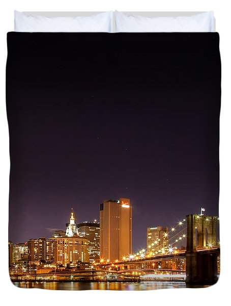 New York City Lights At Night Duvet Cover by Az Jackson