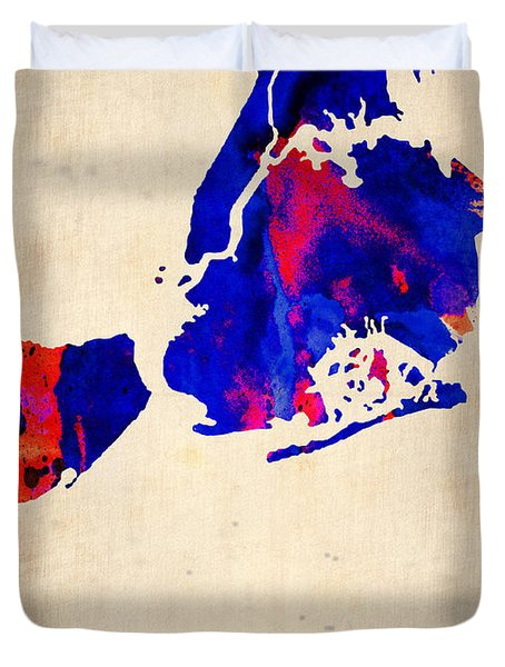 New York City Watercolor Map 1 Duvet Cover by Naxart Studio