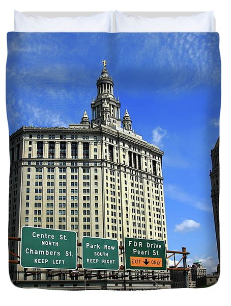 New York City With Local Traffic Signs Duvet Cover by Frank Romeo