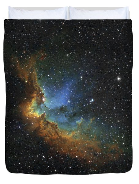 Ngc 7380 In Hubble-palette Colors Duvet Cover by Rolf Geissinger