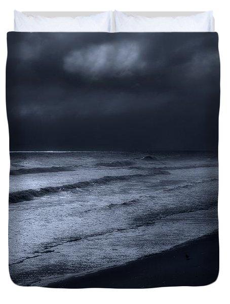 Night Beach - Jersey Shore Duvet Cover by Angie Tirado