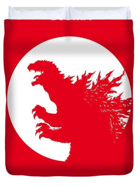 No029-1 My Godzilla 1954 Minimal Movie Poster Duvet Cover by Chungkong Art