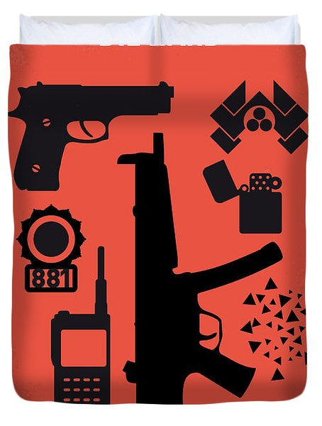 No453 My Die Hard Minimal Movie Poster Duvet Cover by Chungkong Art