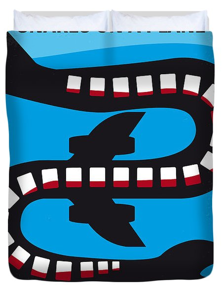 No501 My Snakes On A Plane Minimal Movie Poster Duvet Cover by Chungkong Art