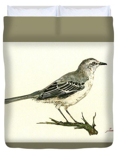 Northern Mockingbird Duvet Cover by Juan  Bosco