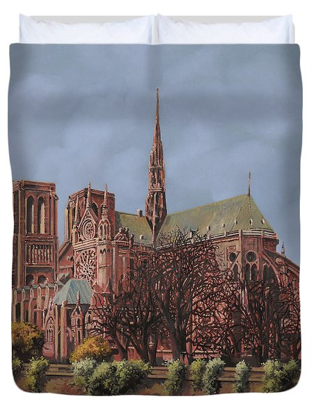 Notre-dame Duvet Cover by Guido Borelli