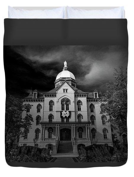 Notre Dame University Black White 3a Duvet Cover by David Haskett