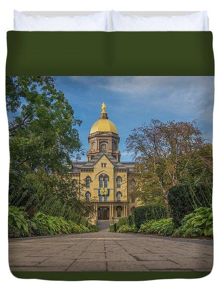 Notre Dame University Q Duvet Cover by David Haskett