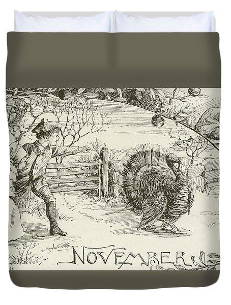 November   Vintage Thanksgiving Card Duvet Cover by American School