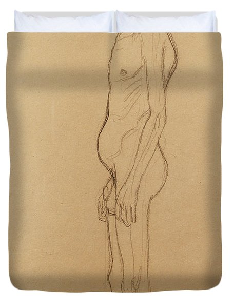 Nude Man Duvet Cover by Gustav Klimt