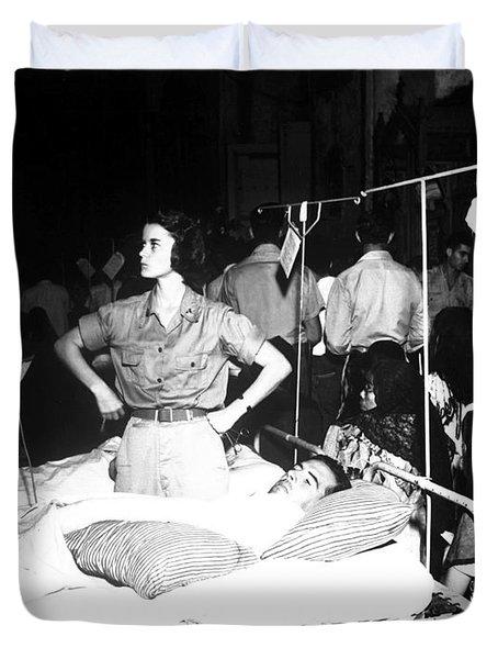 Nurse Adjusts Glucose Injection Duvet Cover by Stocktrek Images