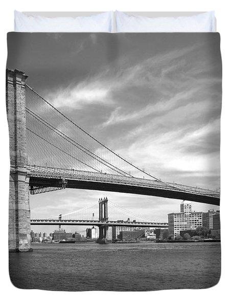Nyc Brooklyn Bridge Duvet Cover by Mike McGlothlen