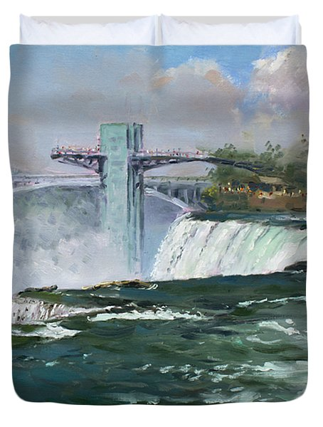 Observation Tower In Niagara Falls Duvet Cover by Ylli Haruni