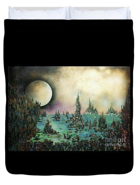 Ocean Moonrise Duvet Cover by Kaye Miller-Dewing